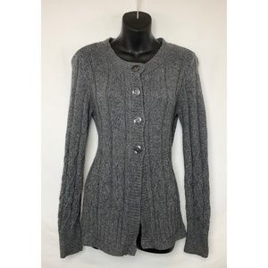CHRISTOPHER & BANKS  Gray Button Up LS Sweater